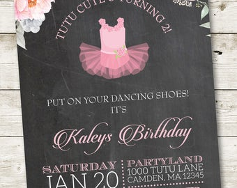 Pink Tutu Invitation, Ballerina Invitation, Ballerina Birthday, Pink Ballerina Birthday, 1st Tutu Birthday, Ballerina Party Invite #001