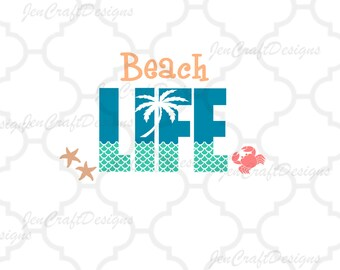 Beach Life SVG Sea Life starfish crab Svg Dxf Eps, png, jpg Cricut   Design Space, Silhouette, Digital Cut Files, Instant Download