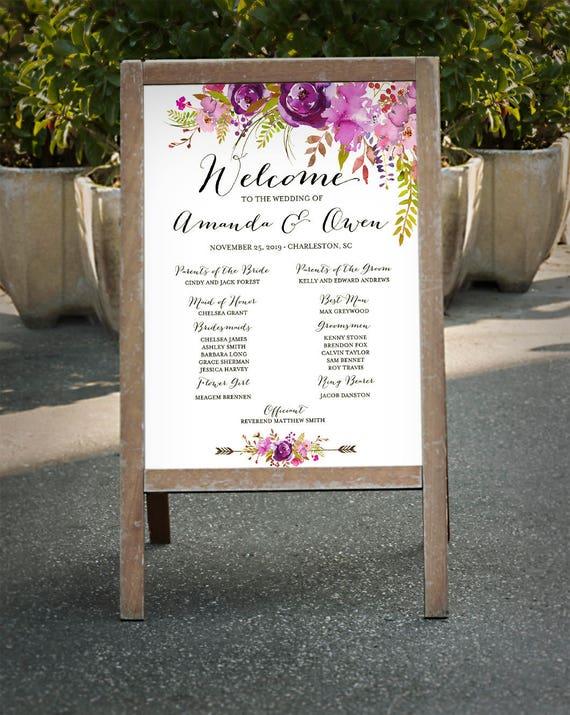 Wedding Program Sign Printable Purple Lavender Lilac Violet