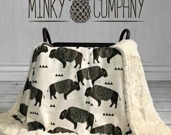 Buffalo Baby Blanket - Designer Minky - Ivory