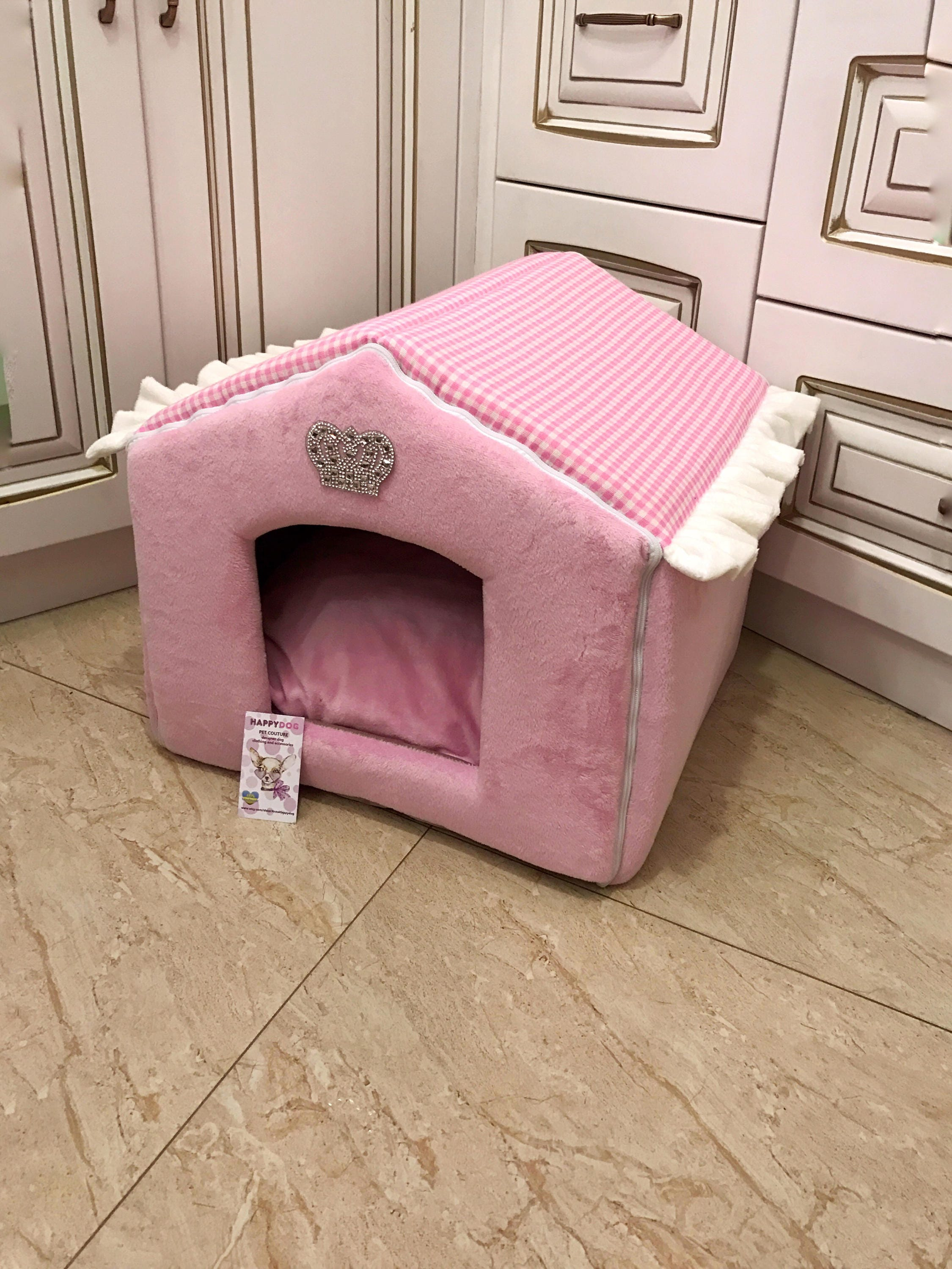 Dog crib for sale philippines - Pink House For Princess Dog Designer Pet House With Crown Sparklings Princess Dog Bed Cat Bed Custom Made Dog Bed Puppy House S M Dog