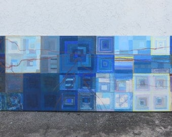 Monumental Mid-Century Modern Linear Abstract Acrylic Painting On Canvas, Artist Unknown, Eight Feet In Length.