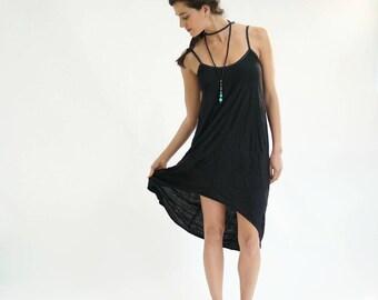 Black Tank Dress, Asymmetric Tank Dress, Spaghetti Dress, Open Back Dress, Summer Tank Dress, Beach Dress, Sun Dress, Urban Clothing