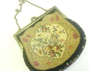Vintage, Art Deco, floral tapestry, evening bag, labelled British Made.