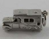 Truck With Camper Sterling Silver Vintage Charm For Bracelet