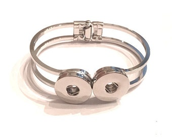 Silver Tone Double SNAP Bangle Bracelet for 18mm - 20mm - SNAP Chunks Bangle