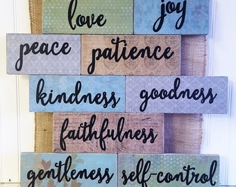 Rustic inspirational sign, Love,joy,peace,patience,kindness, Fruit of the Spirit wood sign