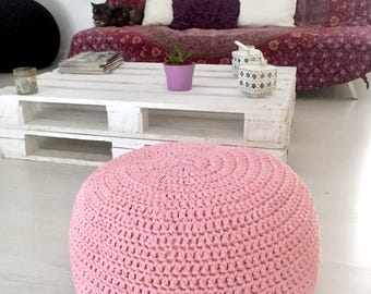 "Crochet pouf with stuffing - Pouf - Ottoman - Floor cushion - Crochet cushion - Floor pouf - Modern pouf (20"" - 50 cms.)"