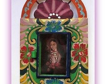 Painted Tin Nicho, Nicho Frame, Virgin, Mexican Folk Art - Mexican Nicho, Tin Nicho Frame