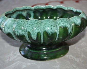 Adorable Dark Green UPCO Ceramic Pedestal Planter, #908