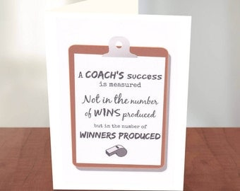 Thank You Card for a Track and Field Coach - Baseball Coach - Soccer Coach Card - Football Coach - Basketball - Lacrosse - Cross Country