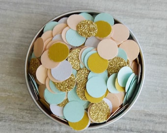 Confetti, Peach Confetti, Gold Glitter Confetti, Seafoam Confetti, Gold Confetti, 500 Pieces Mixed Color Confetti, Table Scatter, Decoration