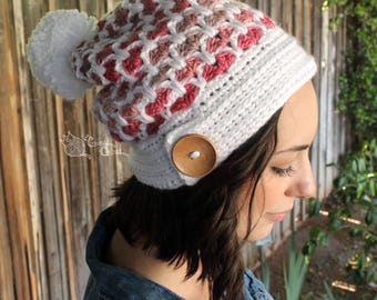 READY TO SHIP Vintage Love Slouchy Hat with Pom Pom, Red Velvet, Valentine's Day Hearts, Size: Small Adult, Pink, Red, White