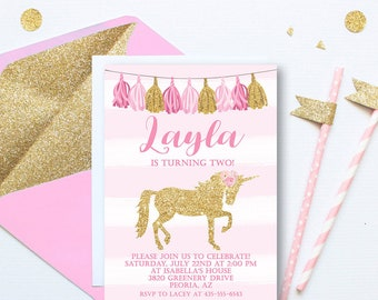 Gold Glitter Unicorn Tassels Invitation, Pink and Gold Invitation, Magical Unicorn Invite, Girl Invitation, Unicorn