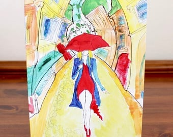 Woman in Red A5 Notecard with Envelope