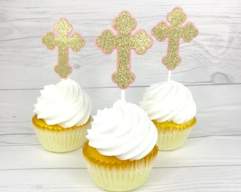 Cross Cupcake Topper, Baptism Decorations for Girls, Christening Cross Cupcake Toppers, Light Pink and Gold Cross Cupcake Toppers