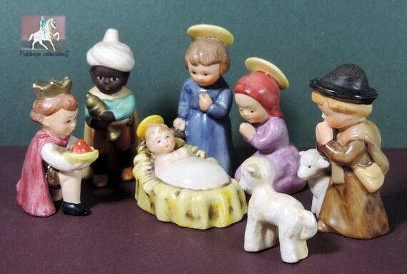 Hummel TM-3 Vintage Goebel Childs Nativity Scene #HX 256 7 piece set circa 1960-1972 Ceramic Figurines