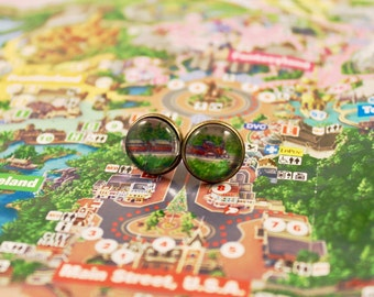 Upcycled Disneyland Map Earrings: Disneyland Railroad
