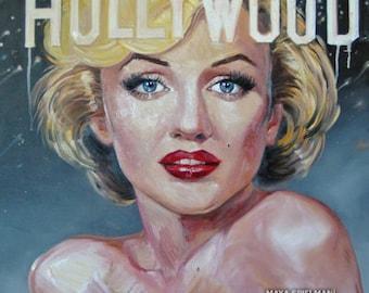Hollywood Marilyn Monroe Portrait Print - Painting by Maya Spielman Artist - *various sizes available*