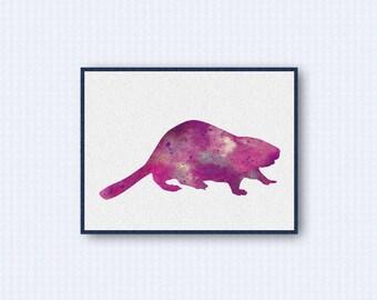 Beaver Watercolor Poster