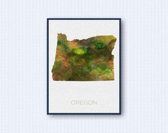 Oregon Map Watercolor Poster, United States Map Print, Green Version