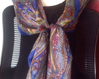 Paisley Blue Silk Scarf,Blue silk scarf,Navy Blue paisley wrap,Henna silk scarf,100% Silk,kashmiri Scarf,Head scarf,Paisley fabric