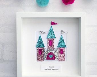 Princess fairy castle wall art, baby girl nursery, princess decor, fairy castle wall art, nursery decor, fairytale art, princess nursery