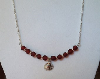 Burgundy Sea Glass and Sterling Silver Shell Necklace 16""