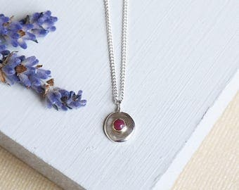 Ruby Necklace, Sterling Silver Necklace, Silver Ruby Necklace, 18ct Gold, Ruby Pendant, July Birthstone, Silver Pendant, Birthstone Necklace