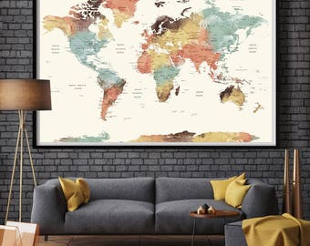 World map wall art etsy world map wall art world map push pin large watercolor wall art worldmap poster gumiabroncs Image collections