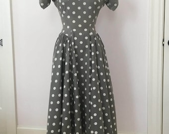 "50s Cotton Polka dot Rockabilly Swing Dress 38"" bust"