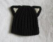 Wool Black Cat Toddler Hat - hand knit