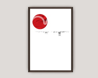 Graphic Print Design, Circular Red Sun/Planet, Contemporary Home Decor, Digital Print Poster, Vector, Instant Downloadable Print