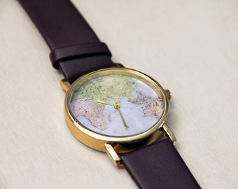 Brown Leather Watch for Men Dressy Sports Watch Steel With Swiss Mechanism Globe Map Casual Or Dressy Wear