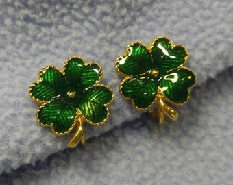 Lucky Four Leaf Clover Clip Earrings