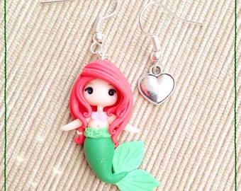 Chibi earrings Polymer Clay Fimo Earrings ~ Cute Kawaii Ariel Disney Princess Little Mermaid Mermaid Princess Red Hair tiny Handmade Gift