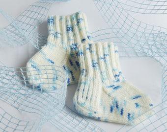 Hand knitted baby socks, Baby boy socks