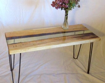 Clear Resin Centered, Hickory Wood Accent Table/Bench/Coffee Table