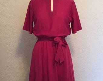 Vintage Magenta Ruffle Dress