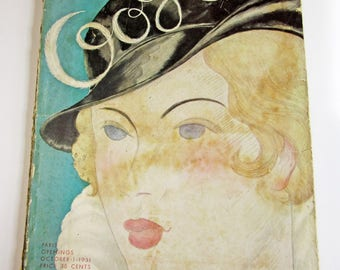 Rare Vintage Ladies' Fashion Magazine Vogue October 1931 Featuring Gowns, Hats and Metallic Colored Ads
