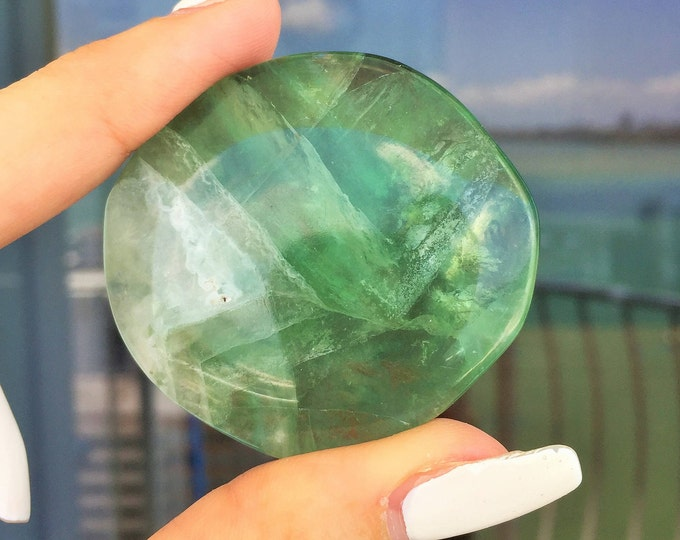 Green Fluorite Crystal Palm Stone /Green Fluorite infused w/ Reiki