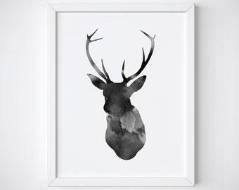 Deer Print , Watercolor Deer Printable , Deer Head Print, Antler Print, Grey Deer Head Print, Antler Print