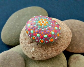 Dot mandala jewel stone, hand painted, collectable artwork, fairy garden rock, painted stone, unique one of a kind zen gift idea