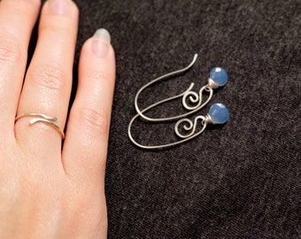 Sterling Silver & Blue Chalcedony Earrings and Ring, Tiny Earrings, Chalcedony Parure, Christmas Gift, Gift for Her
