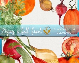 Watercolor clipart, clipart vegetables, garden clipart, tomato clipart, carrot clipart, red beet clipart, produce clipart, kitchen clipart