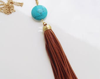 Long Caramel Brown Leather Tassel and Turquoise Colored Semi-Precious Bead Necklace with Gold Toned Chain