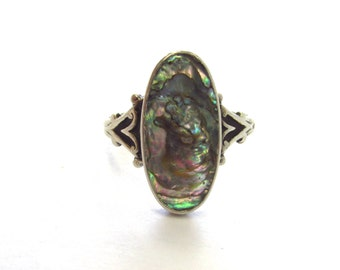 Vintage Sterling Silver Bezel Set Abalone Shell Ring with Dark Patina, size 6 3/4