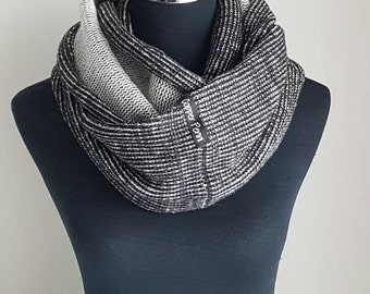Mens scarf, Mens knitted scarf for men, Black mens infinity scarf men,  Unique mens gifts for him Husband gift. Birthday gift for husband