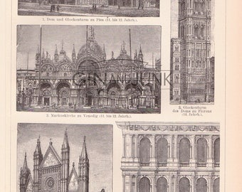 Antique IItalian Architecture and Design - Churches and Cathedrals Fold out print from 1890, Religious Buildings, Architectural Plate.
