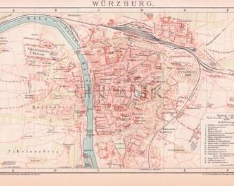Vintage map of the Wurzburg - German Bavarian city.